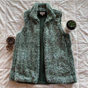 Light Forest Green Sherpa Vest